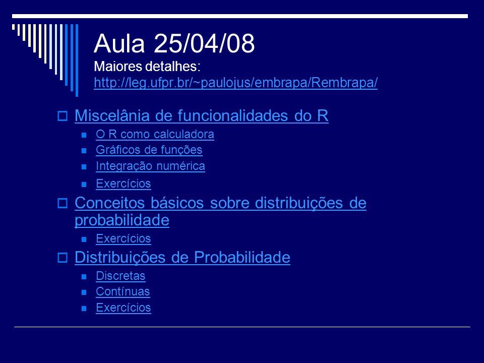 Aula 25/04/08 Maiores detalhes: http://leg.ufpr.br/~paulojus/embrapa/Rembrapa/ http://leg.ufpr.br/~paulojus/embrapa/Rembrapa/ Miscelânia de funcionali