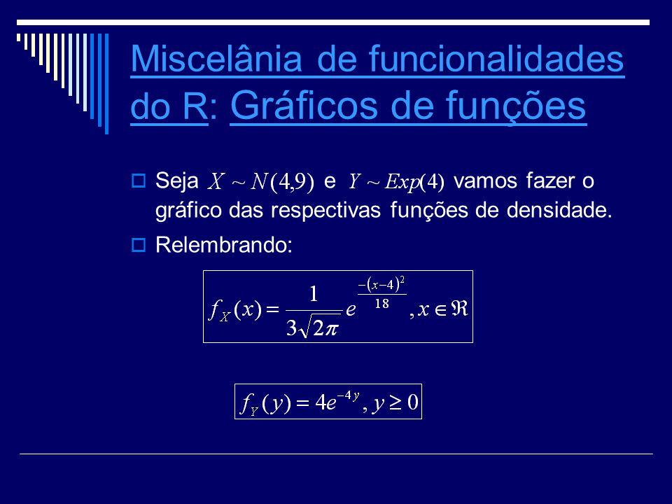 Miscelânia de funcionalidades do RMiscelânia de funcionalidades do R: Grácos de funções Grácos de funções Seja e vamos fazer o gráfico das respectivas