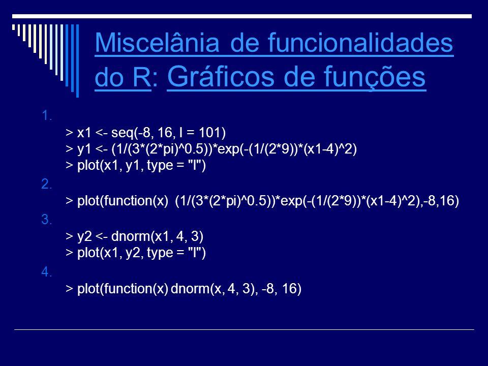 Miscelânia de funcionalidades do RMiscelânia de funcionalidades do R: Integração numérica Integração numérica Sabemos que para distribuições contínuas de probabilidades a integral está associada a probabilidade em um intervalo.