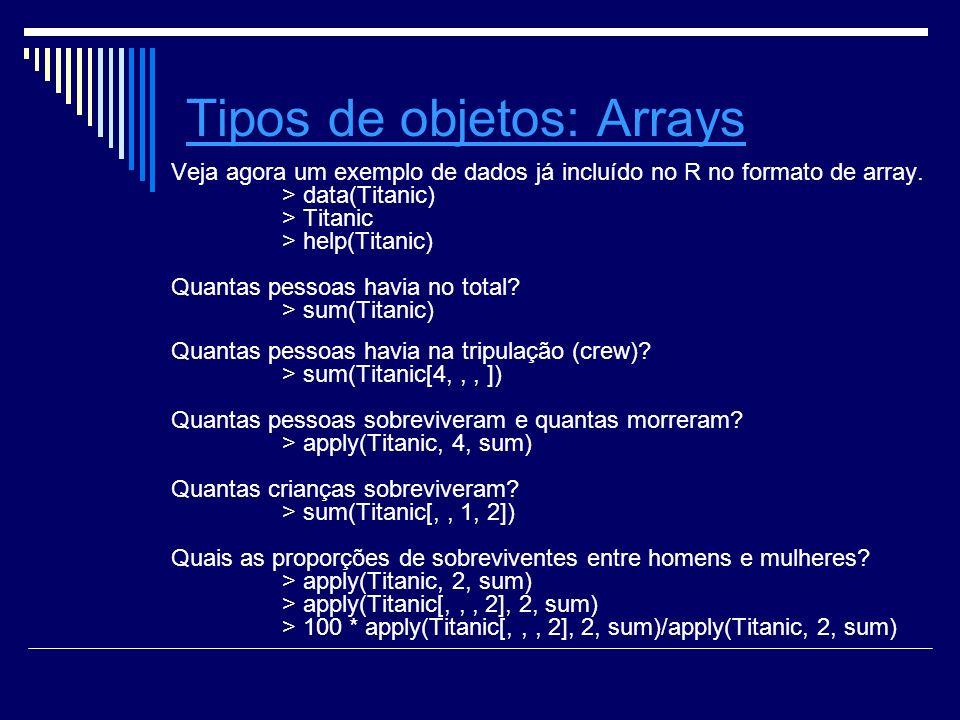 Tipos de objetosTipos de objetos: ArraysArrays Veja agora um exemplo de dados já incluído no R no formato de array.
