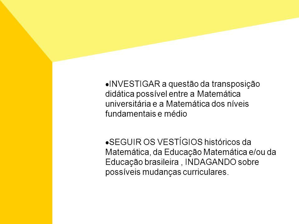 INVESTIGAR a questão da transposição didática possível entre a Matemática universitária e a Matemática dos níveis fundamentais e médio SEGUIR OS VESTÍ