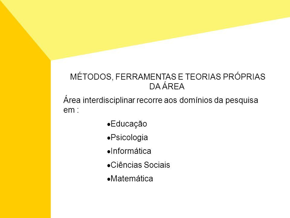 MÉTODOS, FERRAMENTAS E TEORIAS PRÓPRIAS DA ÁREA Área interdisciplinar recorre aos domínios da pesquisa em : Educação Psicologia Informática Ciências S