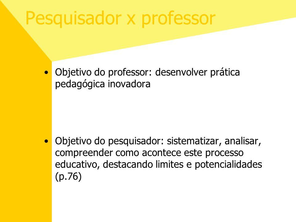 Pesquisador x professor Objetivo do professor: desenvolver prática pedagógica inovadora Objetivo do pesquisador: sistematizar, analisar, compreender c
