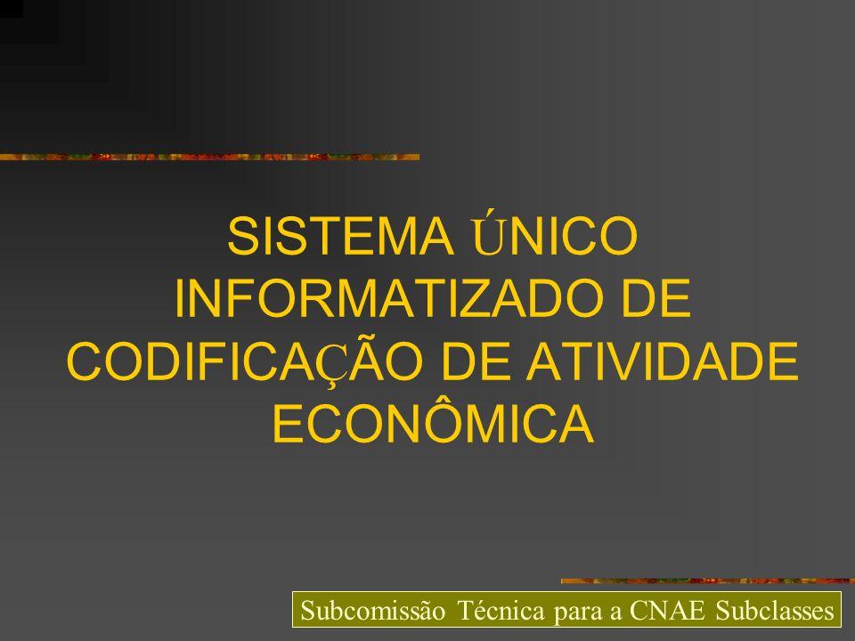 USOS DA CNAE E SISTEMA ÚNICO DE CODIFICAÇÃO MAPA DA IMPLANTAÇÃO DA CNAE NO BRASIL USOS DA CNAE QUALIDADE DA CODIFICAÇÃO SISTEMA ÚNICO DE CODIFICAÇÃO DETERMINAÇÕES DA LEI N° 11.598/2007 PROTOCOLOS ENAT RELATIVOS À CNAE SITUAÇÃO ATUAL DO PROJETO SISTEMA ÚNICO INTEGRAÇÃO COM A REDESIM PROPOSTA DE PROTOCOLO Subcomissão Técnica para a CNAE Subclasses