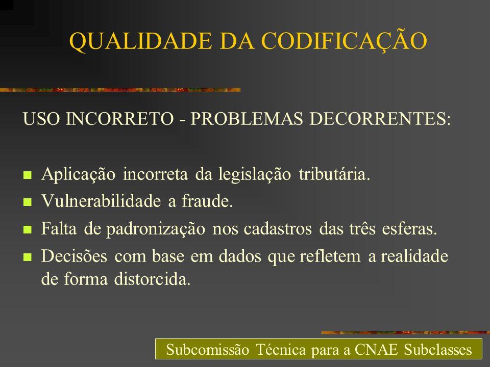 QUALIDADE DA CODIFICAÇÃO USO INCORRETO - PROBLEMAS DECORRENTES: Aplicação incorreta da legislação tributária. Vulnerabilidade a fraude. Falta de padro