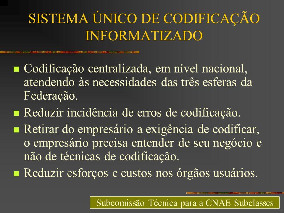 SISTEMA ÚNICO DE CODIFICAÇÃO INFORMATIZADO Codificação centralizada, em nível nacional, atendendo às necessidades das três esferas da Federação. Reduz