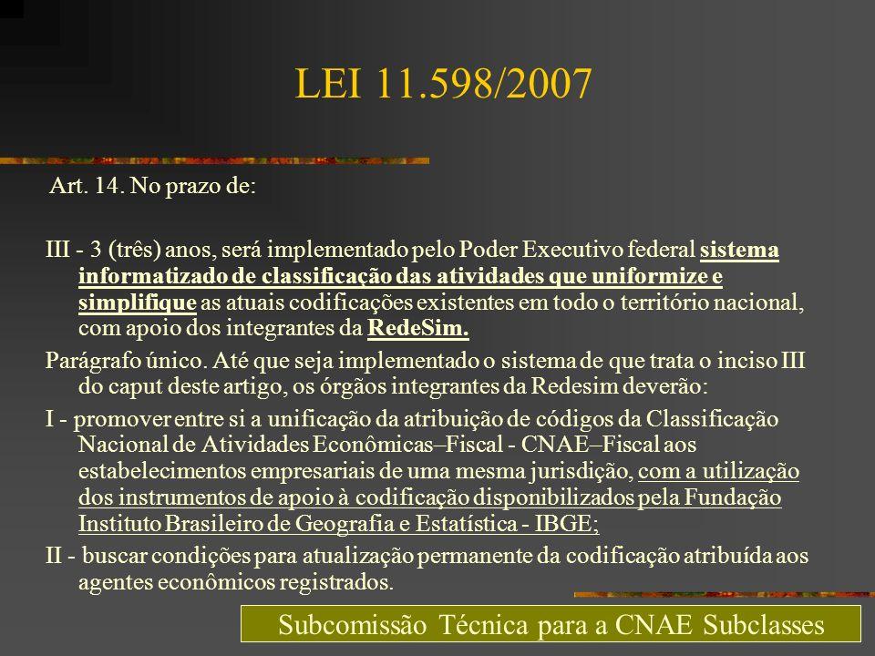 LEI 11.598/2007 Art. 14. No prazo de: III - 3 (três) anos, será implementado pelo Poder Executivo federal sistema informatizado de classificação das a