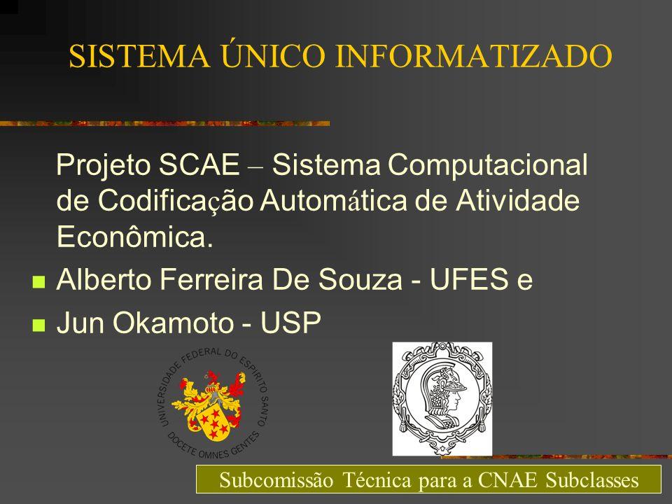 SISTEMA ÚNICO INFORMATIZADO Projeto SCAE – Sistema Computacional de Codifica ç ão Autom á tica de Atividade Econômica. Alberto Ferreira De Souza - UFE