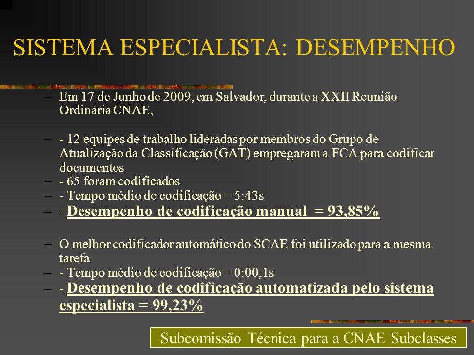 SISTEMA ESPECIALISTA: DESEMPENHO – Em 17 de Junho de 2009, em Salvador, durante a XXII Reunião Ordinária CNAE, – - 12 equipes de trabalho lideradas po