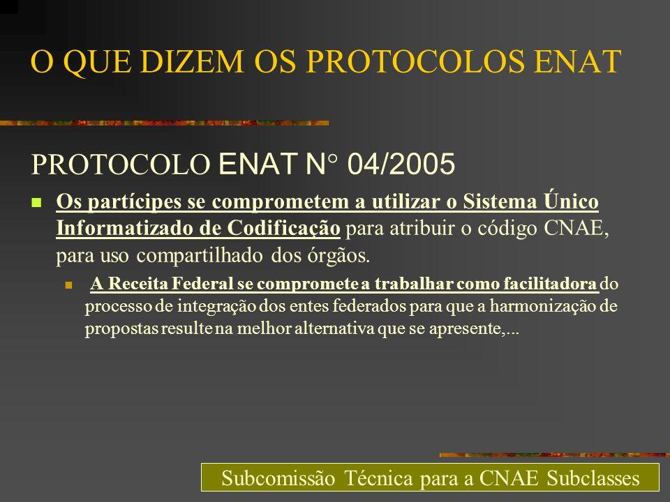O QUE DIZEM OS PROTOCOLOS ENAT PROTOCOLO ENAT N° 04/2005 Os partícipes se comprometem a utilizar o Sistema Único Informatizado de Codificação para atr