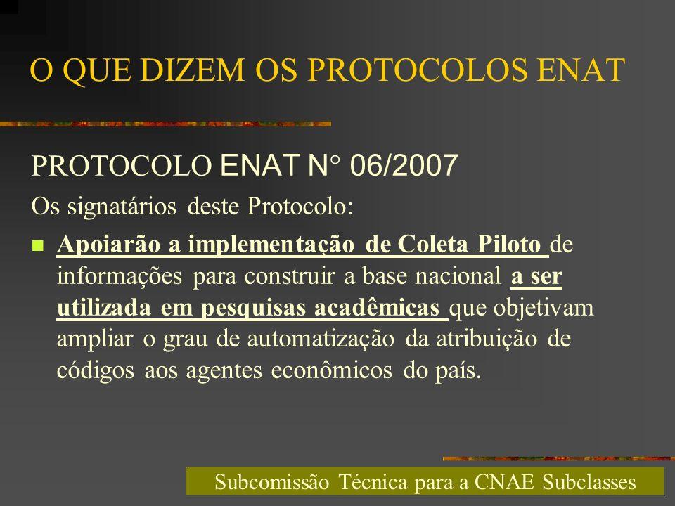 O QUE DIZEM OS PROTOCOLOS ENAT PROTOCOLO ENAT N° 06/2007 Os signatários deste Protocolo: Apoiarão a implementação de Coleta Piloto de informações para