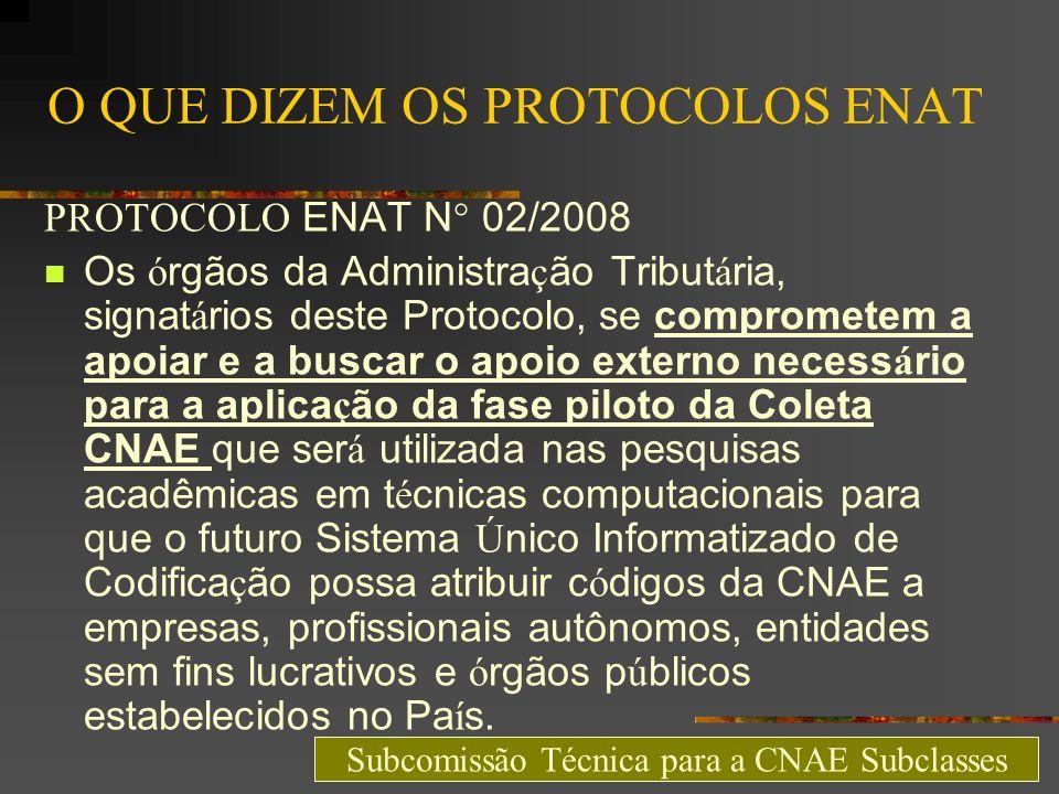 O QUE DIZEM OS PROTOCOLOS ENAT PROTOCOLO ENAT N° 02/2008 Os ó rgãos da Administra ç ão Tribut á ria, signat á rios deste Protocolo, se comprometem a a