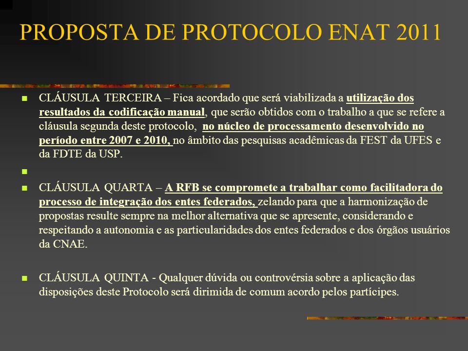 PROPOSTA DE PROTOCOLO ENAT 2011 CLÁUSULA TERCEIRA – Fica acordado que será viabilizada a utilização dos resultados da codificação manual, que serão ob