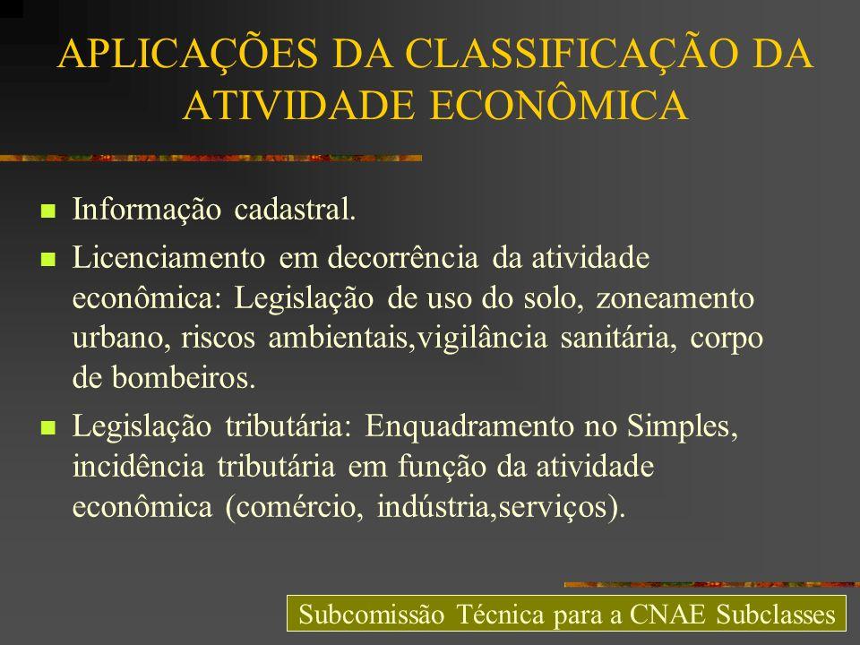 APLICAÇÕES DA CLASSIFICAÇÃO DA ATIVIDADE ECONÔMICA Informação cadastral. Licenciamento em decorrência da atividade econômica: Legislação de uso do sol