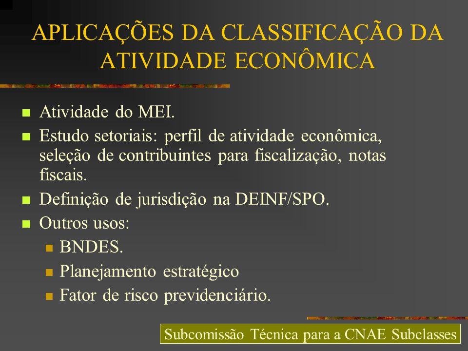 APLICAÇÕES DA CLASSIFICAÇÃO DA ATIVIDADE ECONÔMICA Atividade do MEI. Estudo setoriais: perfil de atividade econômica, seleção de contribuintes para fi