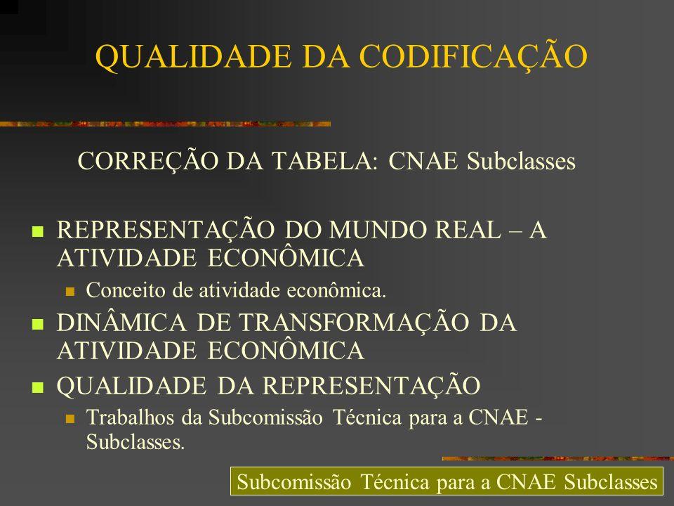 SISTEMA ESPECIALISTA: DESEMPENHO – Em 17 de Junho de 2009, em Salvador, durante a XXII Reunião Ordinária CNAE, – - 12 equipes de trabalho lideradas por membros do Grupo de Atualização da Classificação (GAT) empregaram a FCA para codificar documentos – - 65 foram codificados – - Tempo médio de codificação = 5:43s – - Desempenho de codificação manual = 93,85% – O melhor codificador automático do SCAE foi utilizado para a mesma tarefa – - Tempo médio de codificação = 0:00,1s – - Desempenho de codificação automatizada pelo sistema especialista = 99,23% Subcomissão Técnica para a CNAE Subclasses