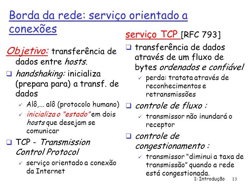 1: Introdução13 Borda da rede: serviço orientado a conexões Objetivo: transferência de dados entre hosts. handshaking: inicializa (prepara para) a tra