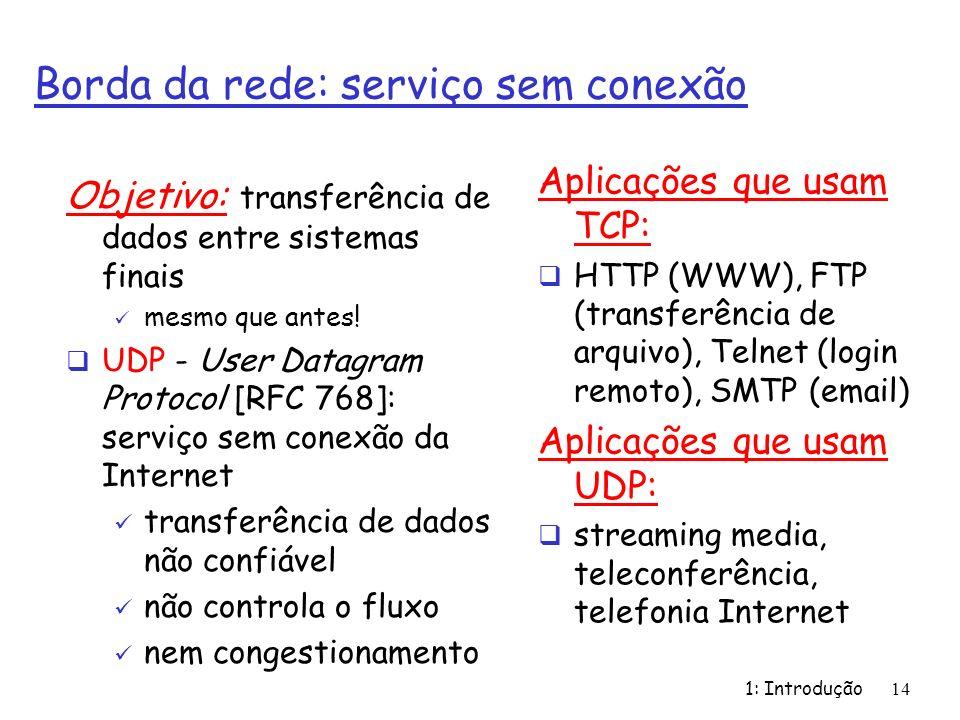 1: Introdução14 Borda da rede: serviço sem conexão Objetivo: transferência de dados entre sistemas finais mesmo que antes! UDP - User Datagram Protoco