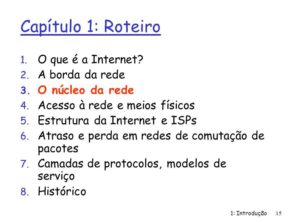 1: Introdução15 Capítulo 1: Roteiro 1. O que é a Internet? 2. A borda da rede 3. O núcleo da rede 4. Acesso à rede e meios físicos 5. Estrutura da Int