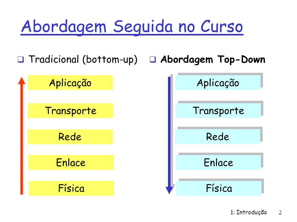 1: Introdução2 Abordagem Seguida no Curso Tradicional (bottom-up) Abordagem Top-Down Aplicação Transporte Rede Enlace Física Aplicação Transporte Rede