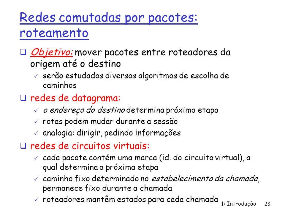 1: Introdução28 Redes comutadas por pacotes: roteamento Objetivo: mover pacotes entre roteadores da origem até o destino serão estudados diversos algo