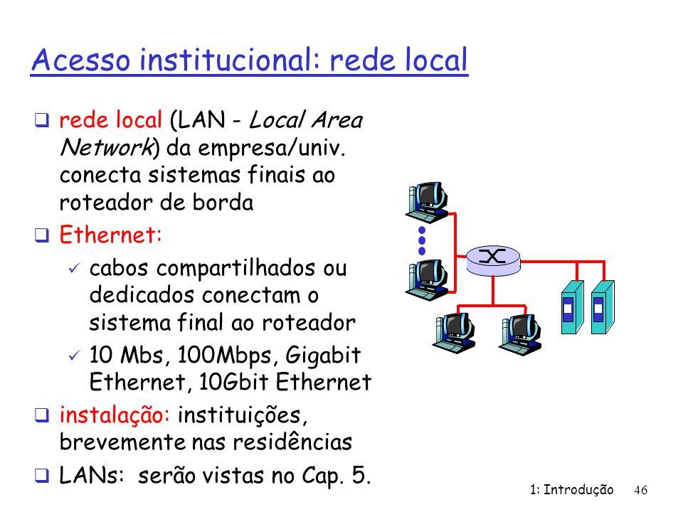 1: Introdução46 Acesso institucional: rede local rede local (LAN - Local Area Network) da empresa/univ. conecta sistemas finais ao roteador de borda E