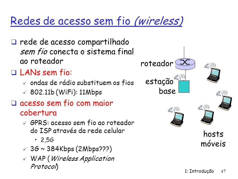 1: Introdução47 Redes de acesso sem fio (wireless) rede de acesso compartilhado sem fio conecta o sistema final ao roteador LANs sem fio: ondas de rád