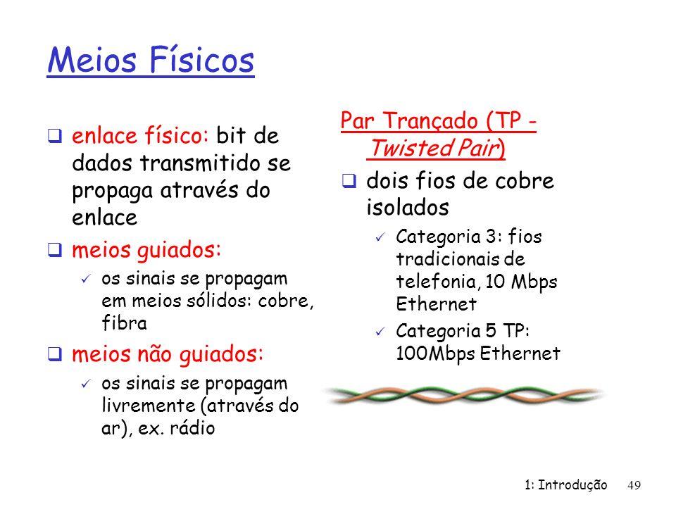 1: Introdução49 Meios Físicos enlace físico: bit de dados transmitido se propaga através do enlace meios guiados: os sinais se propagam em meios sólid