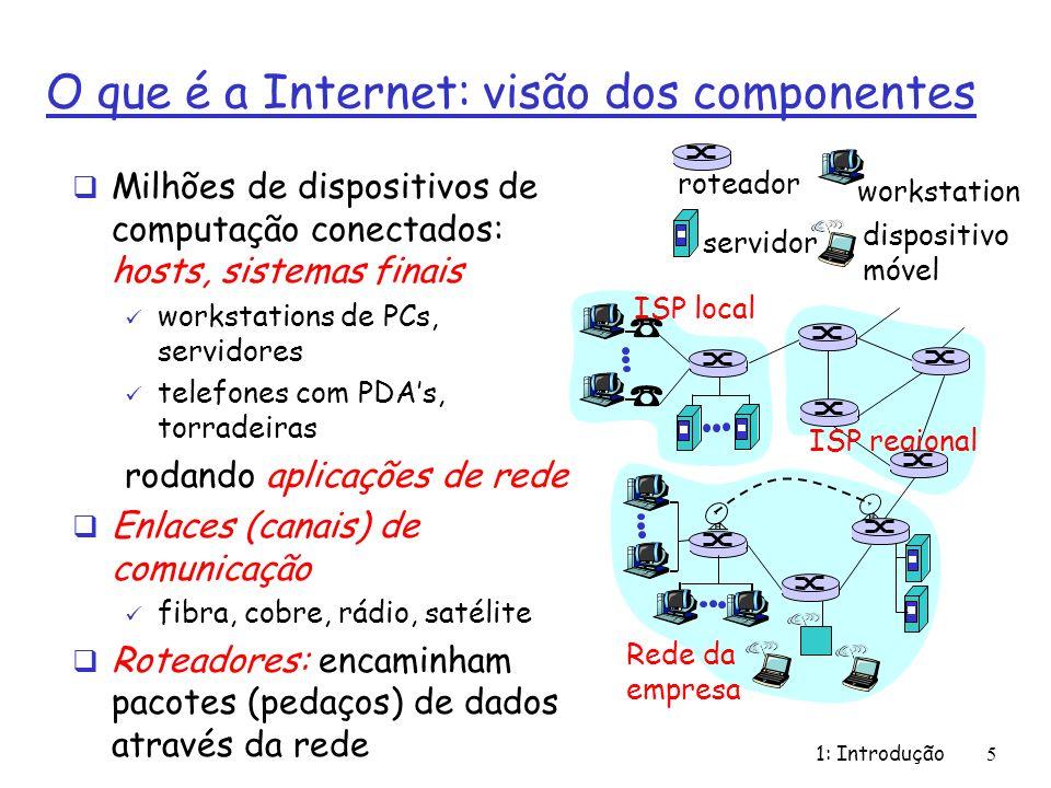 1: Introdução5 O que é a Internet: visão dos componentes Milhões de dispositivos de computação conectados: hosts, sistemas finais workstations de PCs,