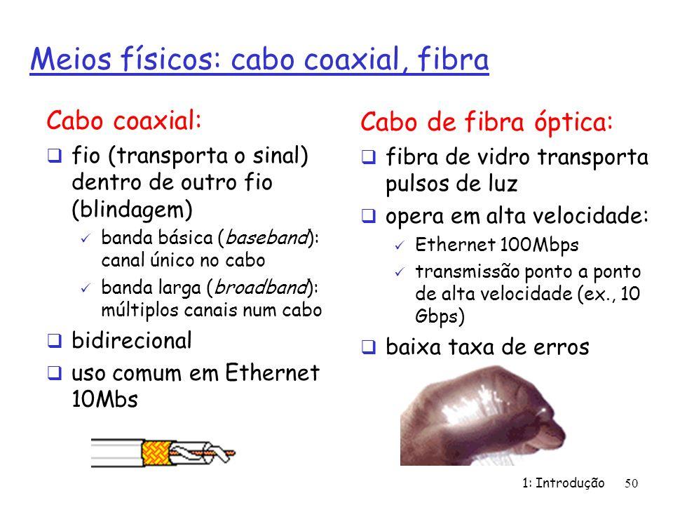 1: Introdução50 Meios físicos: cabo coaxial, fibra Cabo coaxial: fio (transporta o sinal) dentro de outro fio (blindagem) banda básica (baseband): can
