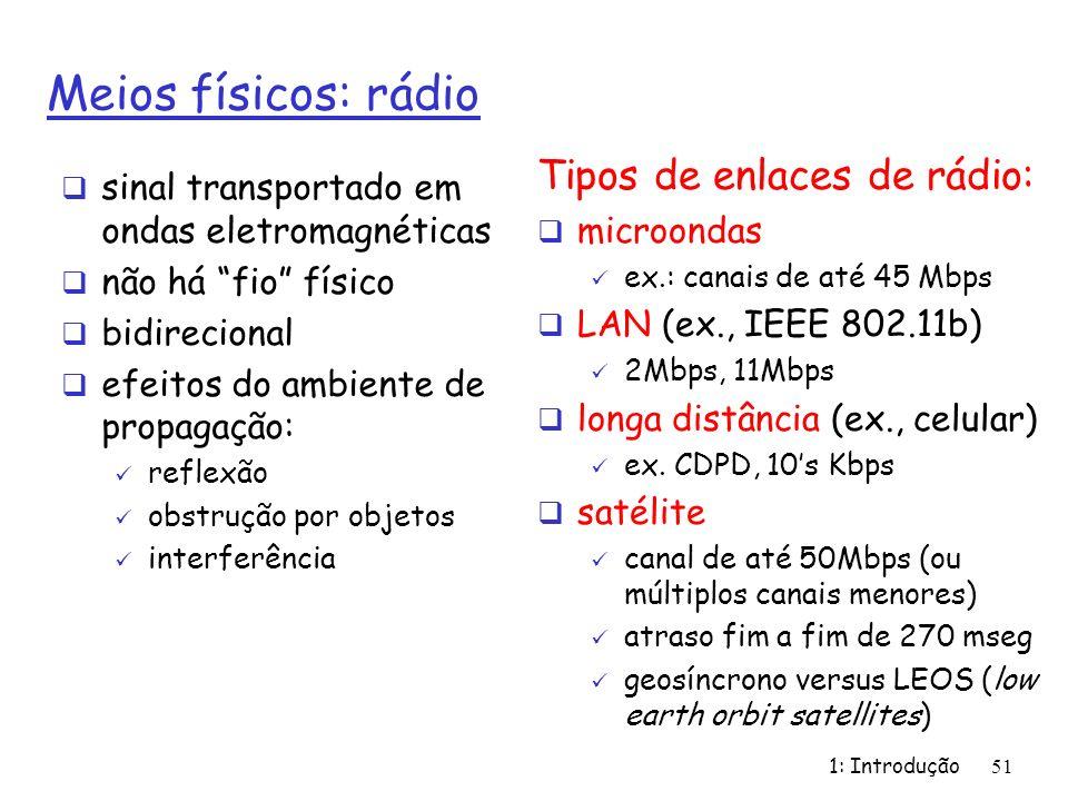 1: Introdução51 Meios físicos: rádio sinal transportado em ondas eletromagnéticas não há fio físico bidirecional efeitos do ambiente de propagação: re