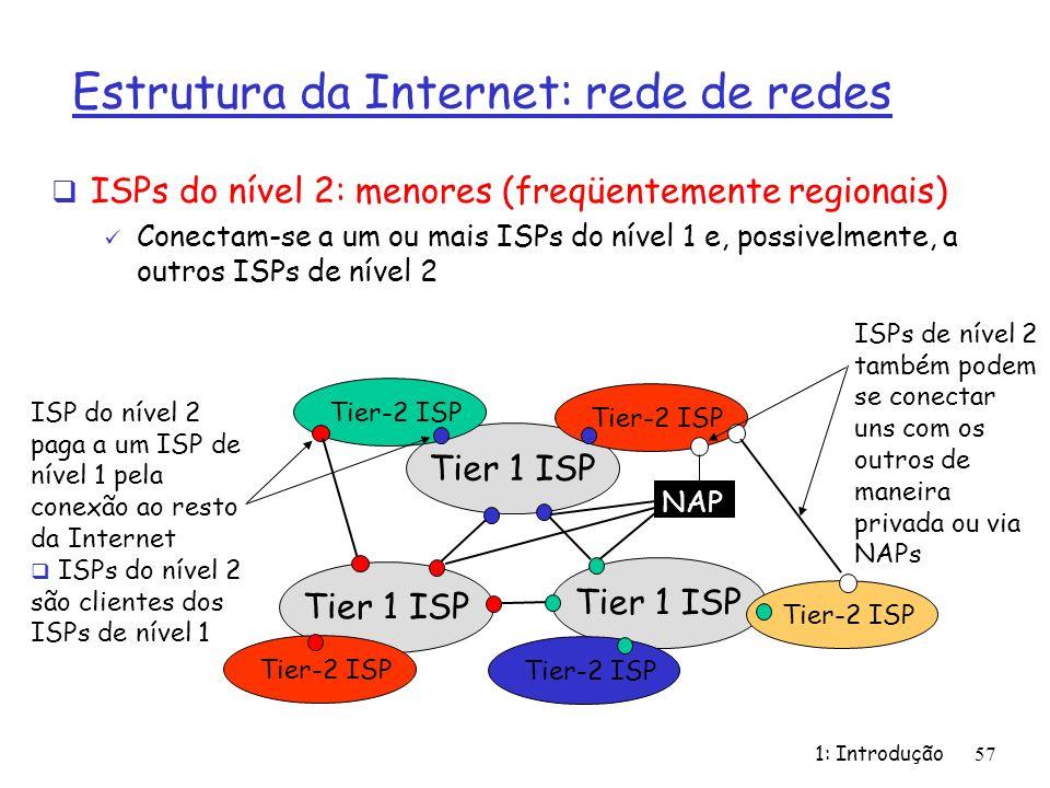 1: Introdução57 Estrutura da Internet: rede de redes ISPs do nível 2: menores (freqüentemente regionais) Conectam-se a um ou mais ISPs do nível 1 e, p