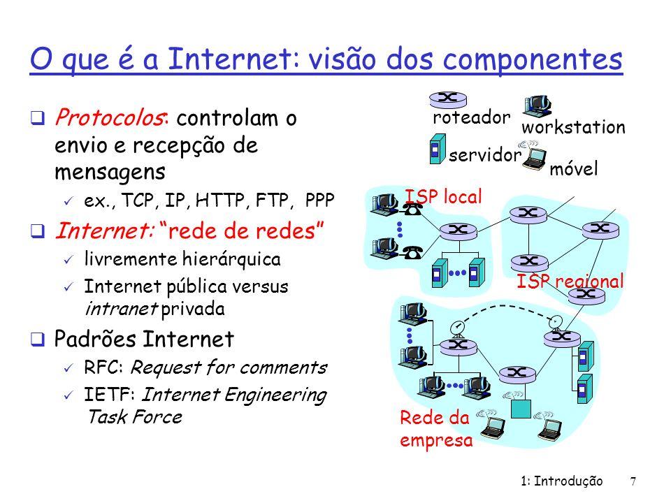 1: Introdução7 O que é a Internet: visão dos componentes Protocolos: controlam o envio e recepção de mensagens ex., TCP, IP, HTTP, FTP, PPP Internet: