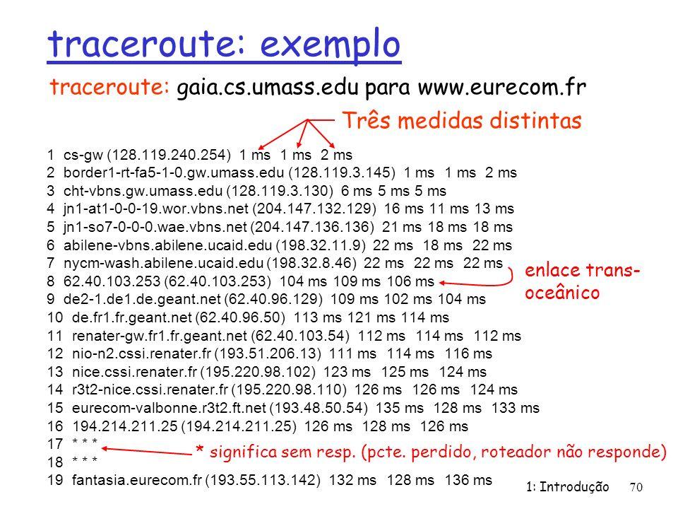1: Introdução70 traceroute: exemplo 1 cs-gw (128.119.240.254) 1 ms 1 ms 2 ms 2 border1-rt-fa5-1-0.gw.umass.edu (128.119.3.145) 1 ms 1 ms 2 ms 3 cht-vb