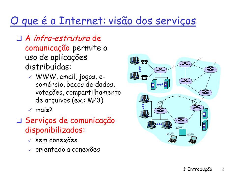 1: Introdução8 O que é a Internet: visão dos serviços A infra-estrutura de comunicação permite o uso de aplicações distribuídas: WWW, email, jogos, e-