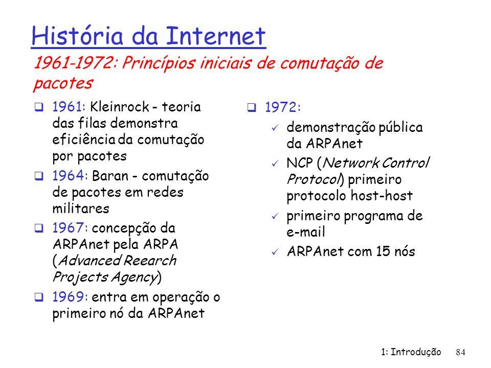 1: Introdução84 História da Internet 1961: Kleinrock - teoria das filas demonstra eficiência da comutação por pacotes 1964: Baran - comutação de pacot
