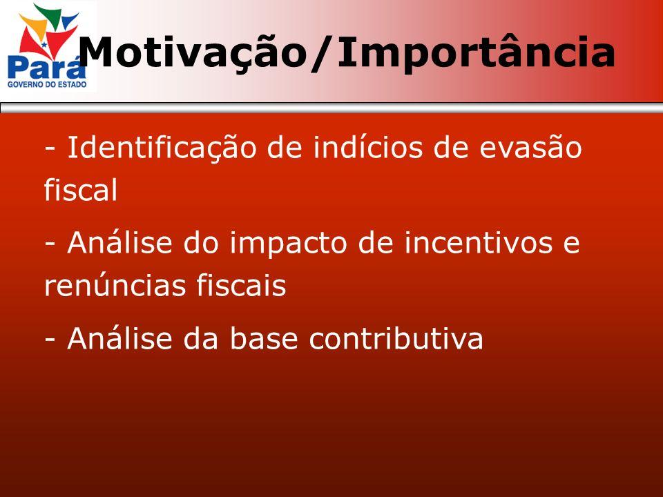 - Identificação de indícios de evasão fiscal - Análise do impacto de incentivos e renúncias fiscais - Análise da base contributiva Motivação/Importânc