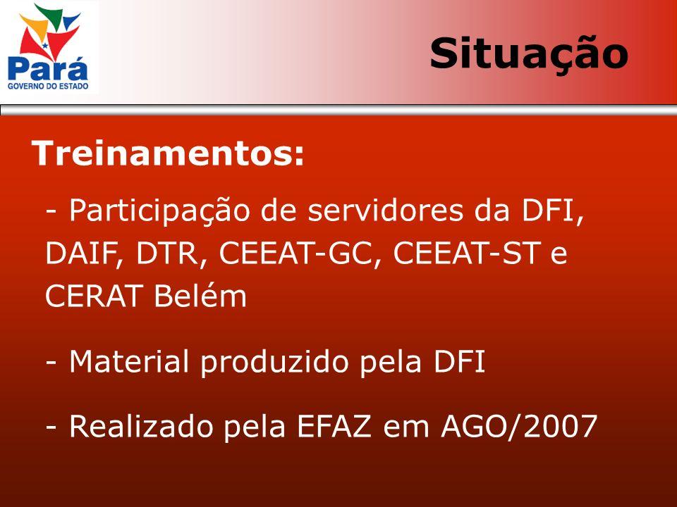 Treinamentos: - Participação de servidores da DFI, DAIF, DTR, CEEAT-GC, CEEAT-ST e CERAT Belém - Material produzido pela DFI - Realizado pela EFAZ em