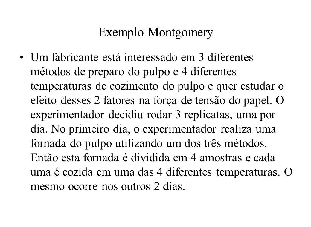Exemplo Montgomery Um fabricante está interessado em 3 diferentes métodos de preparo do pulpo e 4 diferentes temperaturas de cozimento do pulpo e quer