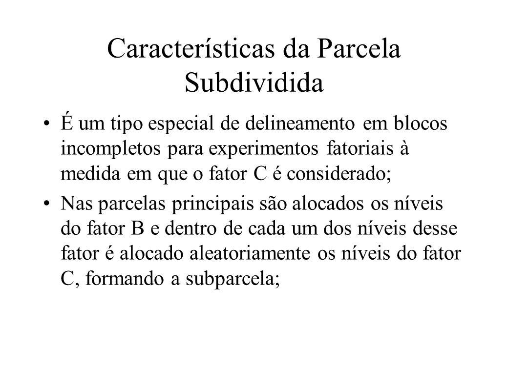 Características da Parcela Subdividida É um tipo especial de delineamento em blocos incompletos para experimentos fatoriais à medida em que o fator C