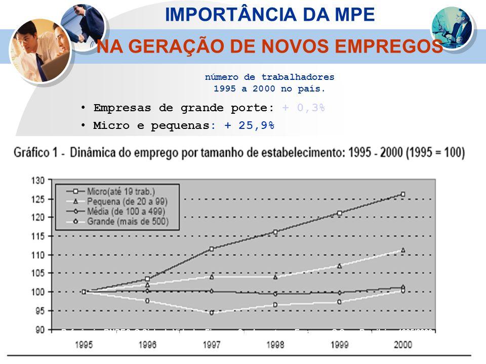 Referência: BNDES. O Ciclo de Vida das Firmas e Seu Impacto no Emprego: O Caso Brasileiro 1995/2000. Empresas de grande porte: + 0,3% Micro e pequenas