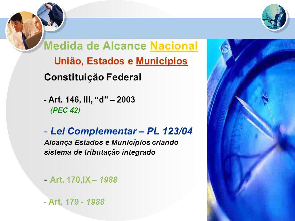 Constituição Federal - Art. 146, III, d – 2003 (PEC 42) - Lei Complementar – PL 123/04 Alcança Estados e Municípios criando sistema de tributação inte