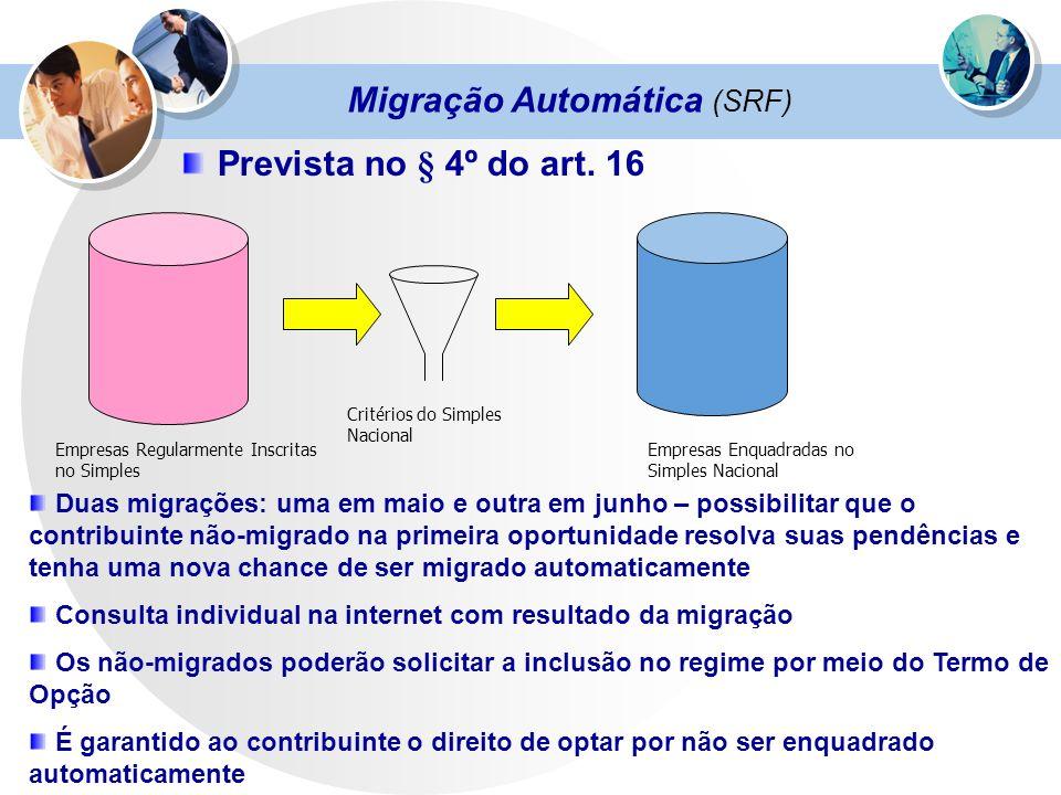 Migração Automática (SRF) Prevista no § 4º do art. 16 Empresas Regularmente Inscritas no Simples Critérios do Simples Nacional Empresas Enquadradas no