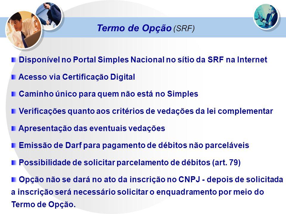 Termo de Opção (SRF) Disponível no Portal Simples Nacional no sítio da SRF na Internet Acesso via Certificação Digital Caminho único para quem não est