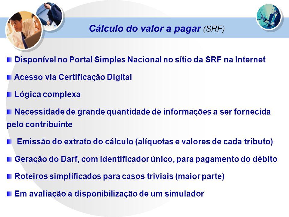 Cálculo do valor a pagar (SRF) Disponível no Portal Simples Nacional no sítio da SRF na Internet Acesso via Certificação Digital Lógica complexa Neces