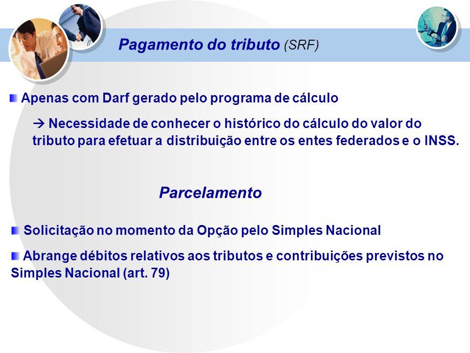 Pagamento do tributo (SRF) Apenas com Darf gerado pelo programa de cálculo Necessidade de conhecer o histórico do cálculo do valor do tributo para efe