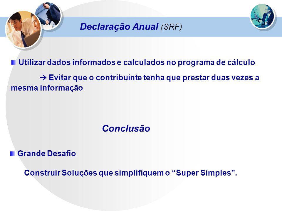 Declaração Anual (SRF) Utilizar dados informados e calculados no programa de cálculo Evitar que o contribuinte tenha que prestar duas vezes a mesma in