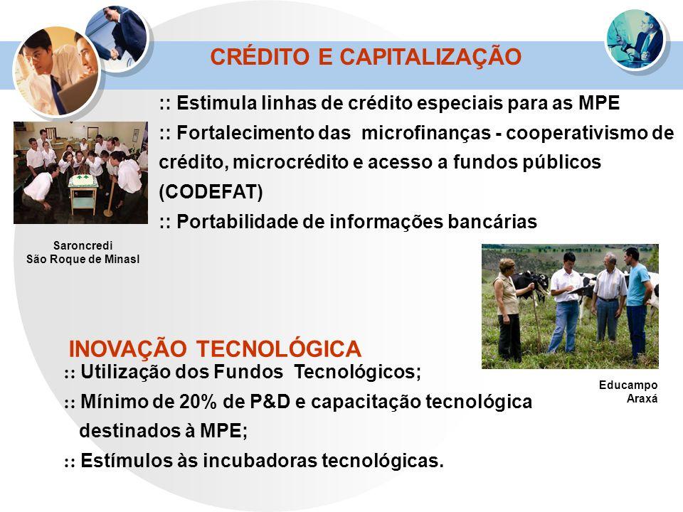 CRÉDITO E CAPITALIZAÇÃO :: Estimula linhas de crédito especiais para as MPE :: Fortalecimento das microfinanças - cooperativismo de crédito, microcréd
