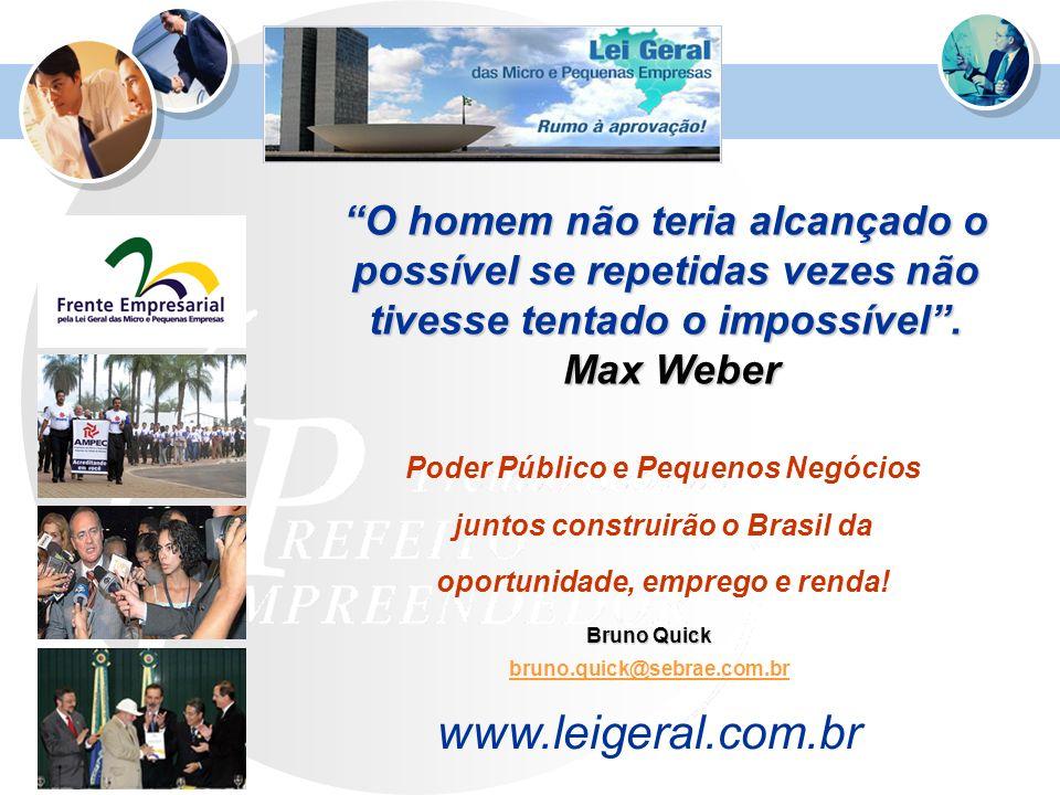 O homem não teria alcançado o possível se repetidas vezes não tivesse tentado o impossível. Max Weber Bruno Quick bruno.quick@sebrae.com.br www.leiger