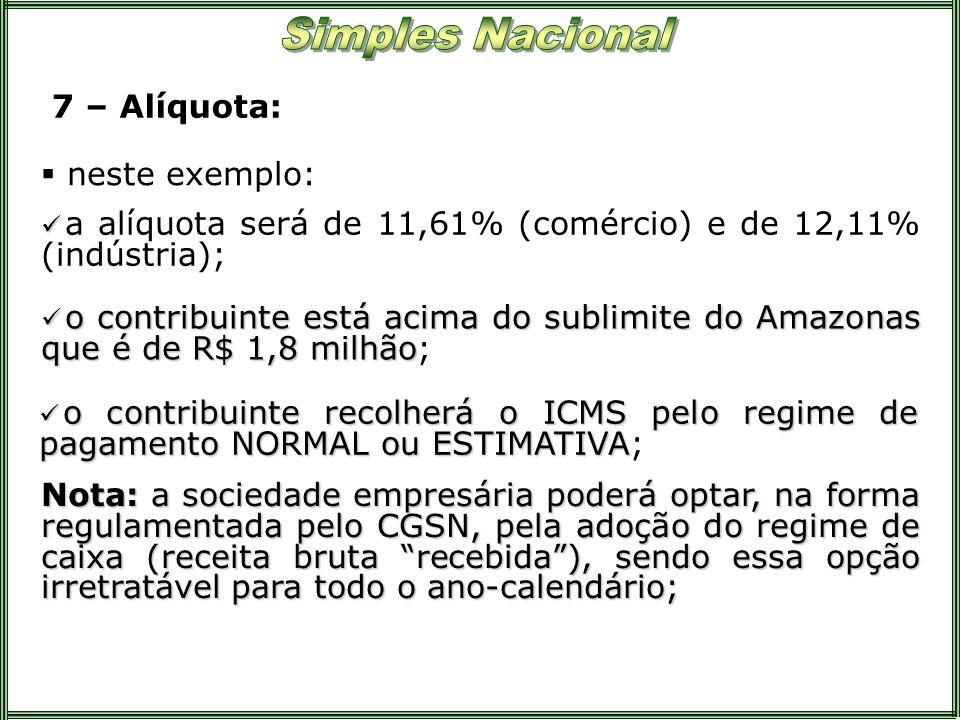 7 – Alíquota: neste exemplo: a alíquota será de 11,61% (comércio) e de 12,11% (indústria); o contribuinte está acima do sublimite do Amazonas que é de